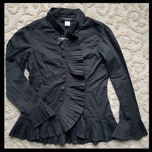 NWOT Gray Victorian Pleated top